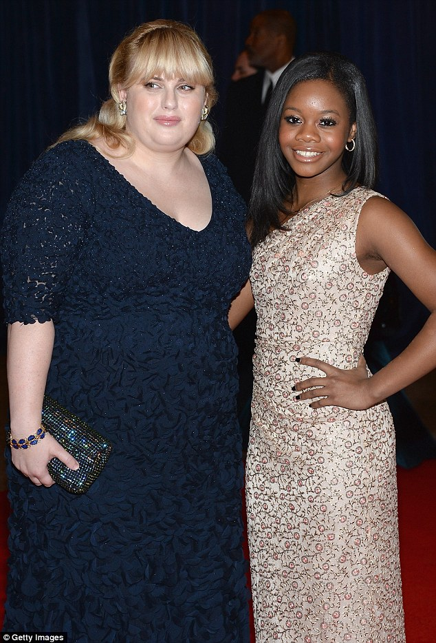 Textured gowns: Rebel Wilson and Olympic gymnast Gabby Dougles looked gorgeous in blue and cream gowns respectively