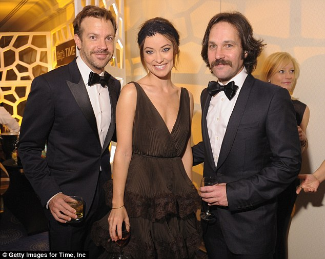 Funny people: Jason Sudekis, Wilde and Paul Rudd attend the TIME/CNN/PEOPLE/FORTUNE Pre-Dinner Cocktail Reception for the WCD