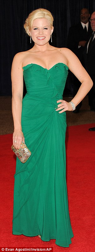 Green theme: Gayle King and Smash's Megan Hilty showed off their curves in figure-hugging green gowns