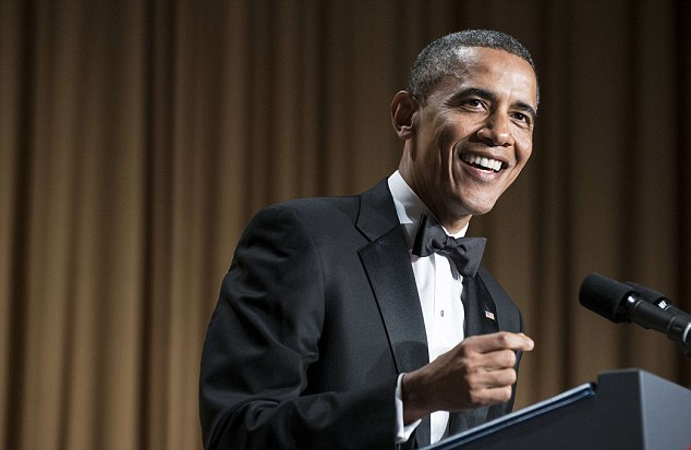 Funny guy: The President entertained with jokes on a range of subjects from Jay-Z, his wife's haircut and his political foes