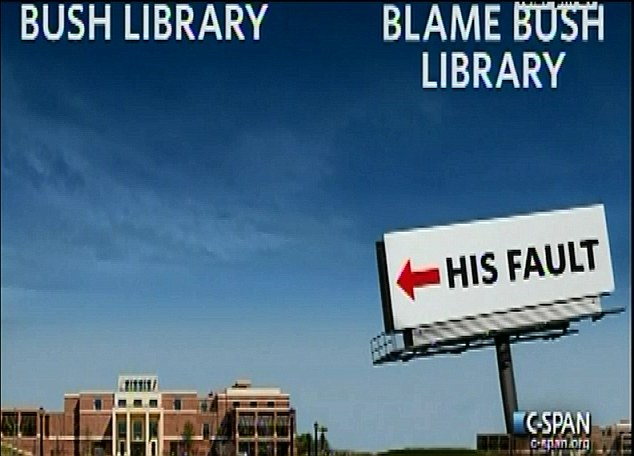 Joke: Obama presented a couple of funny pictures during this speech including this take on the Bush library opened this week