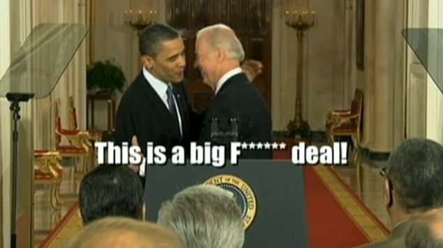 A video mashup of Vice President Joe Biden's gaffes was played at the dinner, including this one where he was caught on a microphone telling President Obama when he announced passage of his health care bill, 'This is a big f**king deal'