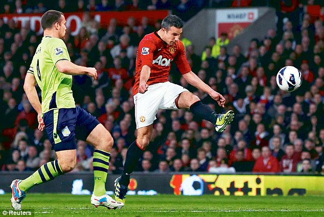 Robin van Persie scored his and Manchester United's second goal in the 3-0 win against Aston Villa on Monday, a result that secured a 20th league title