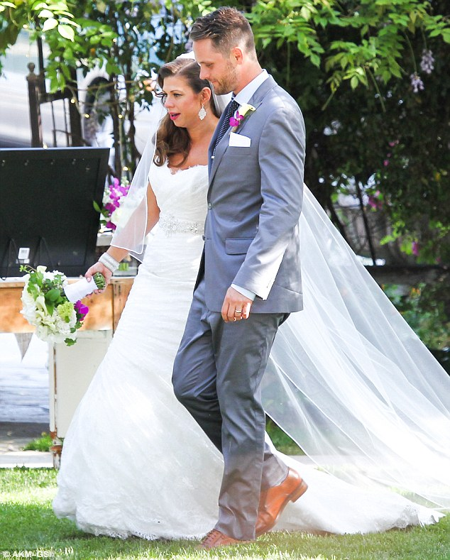 The happy couple: Both actors, the two shared their special day with friends and family in their outdoor wedding
