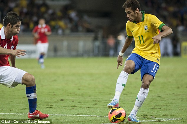 Samba sensation: All indications are that Neymar, seen here in midweek action for Brazil against Chile, will move to a European club in the summer of 2014, with Barcelona, Real Madrid, Chelsea and Man City among the favourites