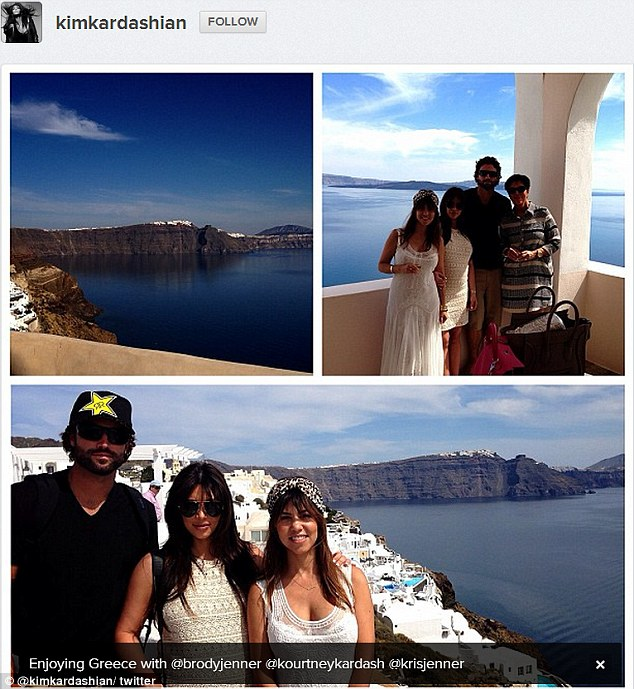 Tweet postcard: Kim Kardashian posted a family picture of her family having a whale of a time in Mykonos