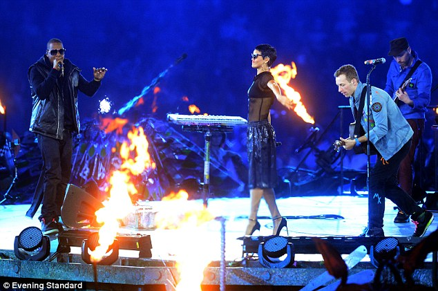 Collaboration: Jay-Z (left) and Martin (right) performing on stage together