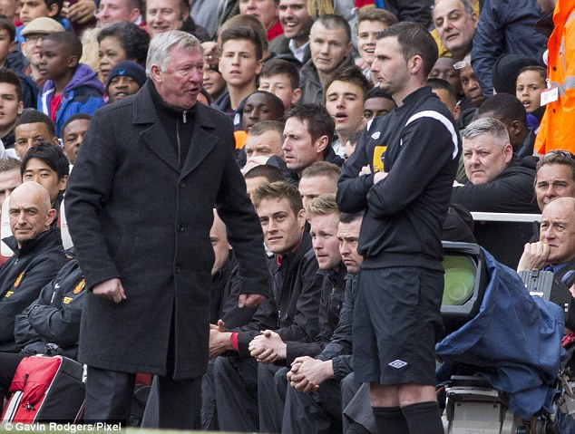 Raging: Sir Alex Ferguson looked upset with fourth official Michael Oliver