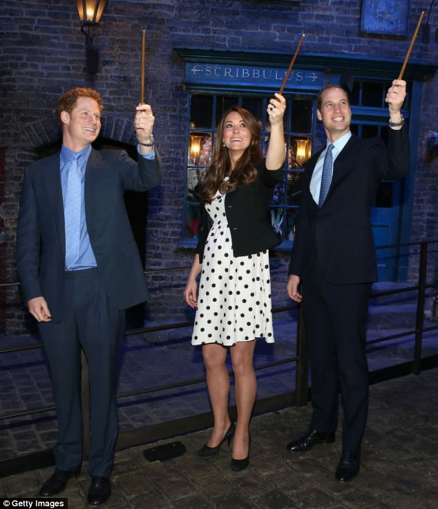 Kate also joined her husband Prince William and brother-in-law Prince Harry at the opening of the Warner Brothers Studios in Leavesden where they had a go at wand work on the set of the Harry Potter films