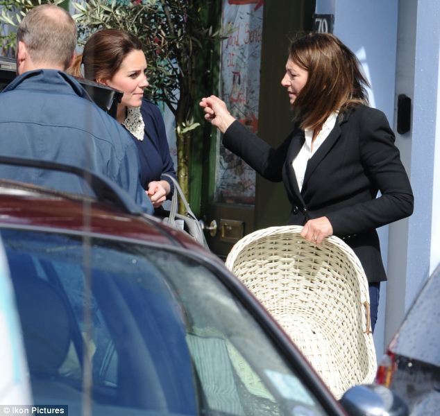Kate and Carole settled on a large white wicker version of the basket and were clearly discussing their purchase as they walked towards their waiting car