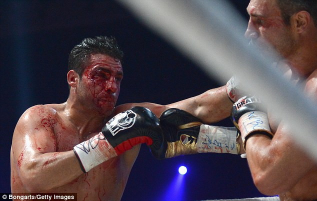 Bloodied: Charr was cut during his defeat to Vitali Klitschko last September