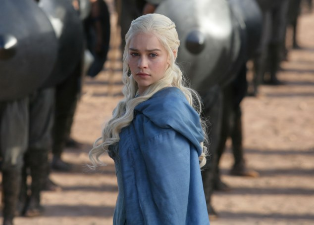 Leading lady: Emilia Clarke as dragon queen Daenerys Targaryen in front of her newly-acquired army of elite warrior-eunuchs, The Unsullied