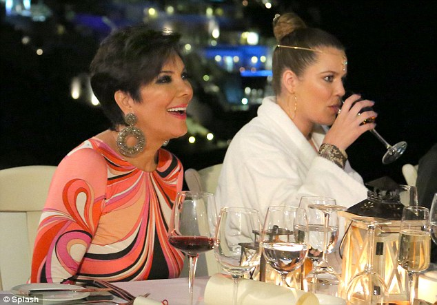 Fine wines: Kris and Khloe enjoyed sipping on some vintage alcohol during their evening out