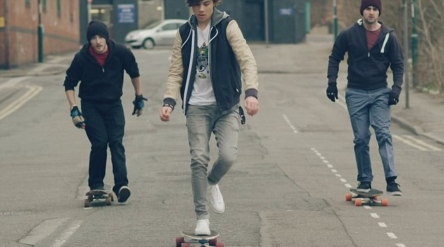 Travelling: The guys head to the gigs by skateboard, foot, bike and taxi