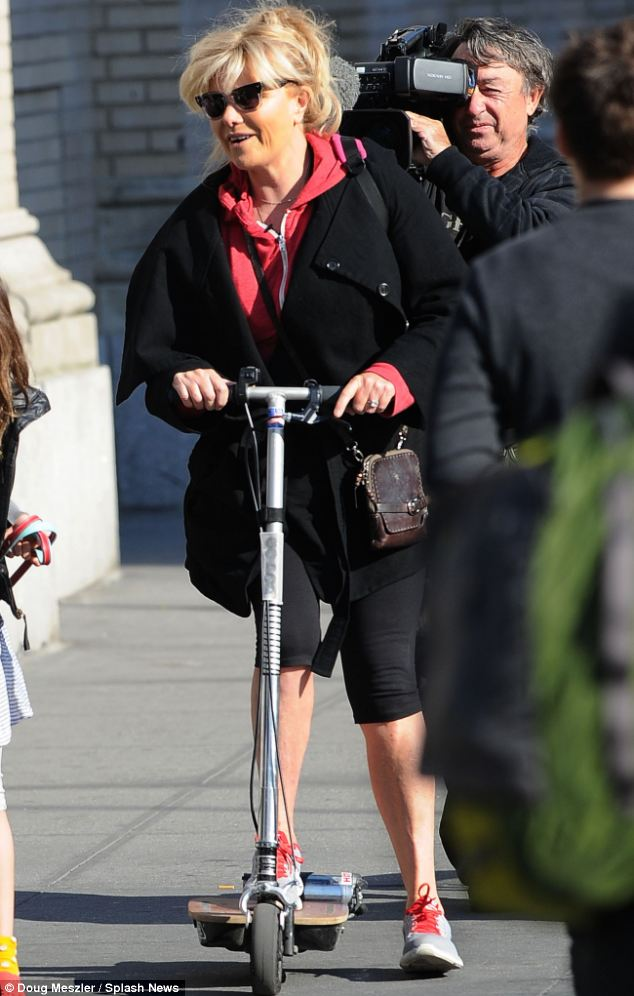 So fun: She may be 57 years old, but Hugh Jackman's wife was having as much fun on her scooter as Ava