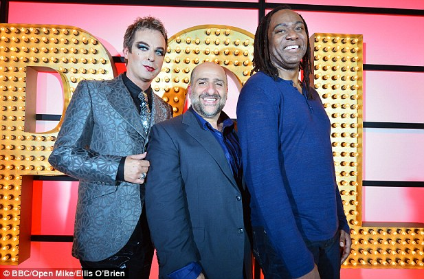 Star: Hunter (right) on the BBC's Live at the Apollo with fellow comics Julian Clary (left) and Omid Djalili