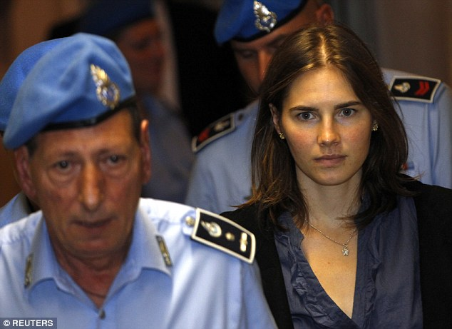Amanda Knox and then boyfriend Sollecito spent four years in jail until their convictions for Ms Kercher's death were overturned