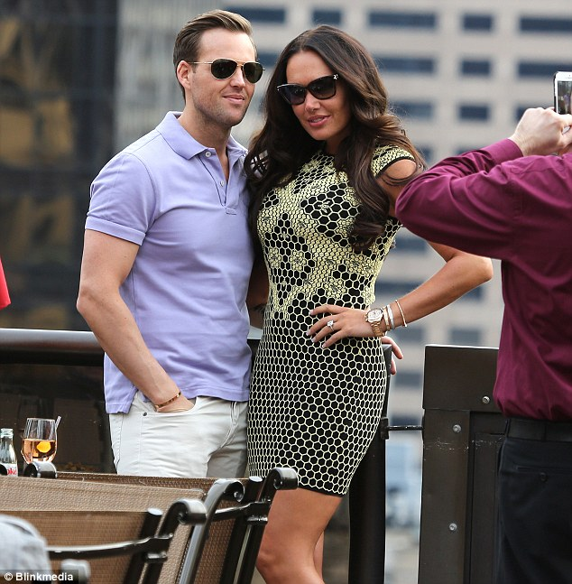 Strike a pose: Later in the day Tamara and Scott headed to a roof top bar to enjoy a few drinks