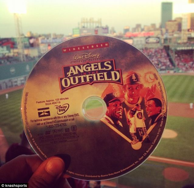 Lucky: Ms Nash later revealed she had a DVD copy of the film Angels in the Outfield in her bag at the time of the near miss