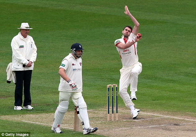 Fine form: Anderson took four wickets for Lancashire in a rain-affected draw against Kent last week