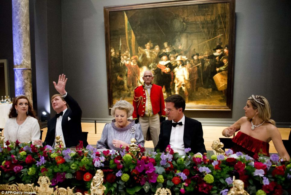 Queen Beatrix of the Netherlands, centre, hosted the gala dinner