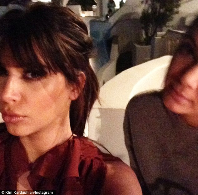 Perfect pout: Kim showed off her pregnancy glow in the Instagram shot