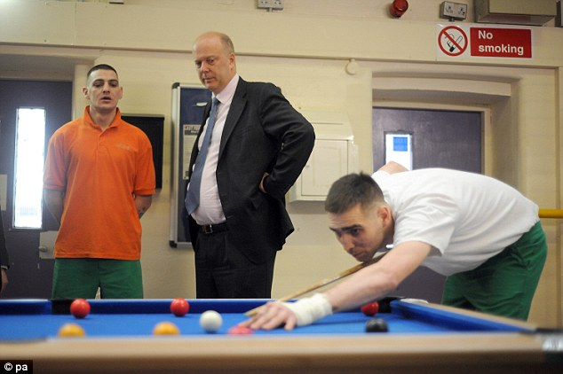 No frills: Justice Secretary Chris Grayling (centre) looks-on as inmates play pool during a visit to Pentonville Prison