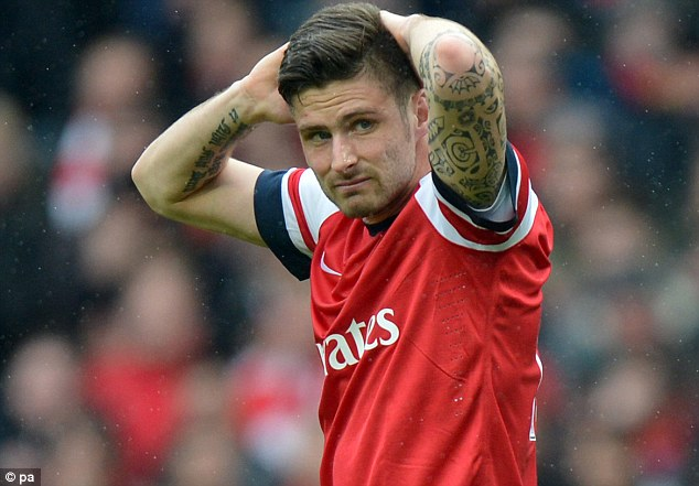 Suspended: Striker Olivier Giroud is still unavailable to play