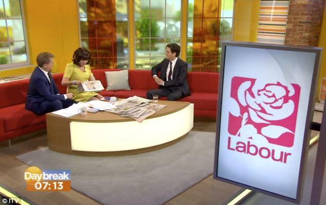 Daybreak presenter Lorraine Kelly brandished the Daily Mail headline which branded his radio interview yesterday a 'Milishambles'