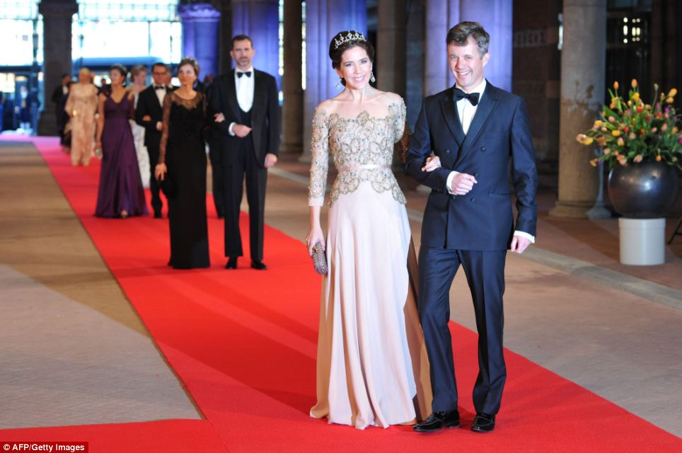 Royal line-up: Denmark's Crown Prince Frederik and Crown Princess Mary lead the way as they enter the event