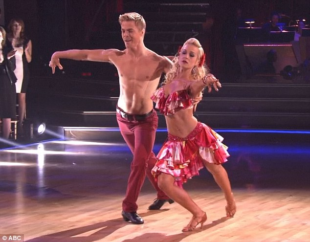 Red hot: Kellie Pickler and partner Derek Hough were once again the stand outs on Monday night's Dancing With the Stars gaining an almost perfect score for their sexy samba