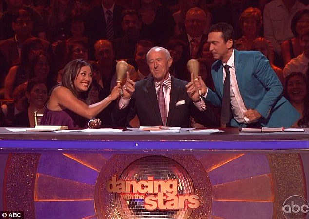 One big joke: Judges (L-R) Carrie Ann Inaba, Len and Bruno Tonioli, got a laugh out of the routine but still scored the couple low