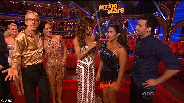 Dance off: After the first dance everyone except Kellie and Derek were mixed up in a 'dance off' with Andy and Sharn havingo compete 'toe to toe' in a cha cha with superior dancers Aly and Mark