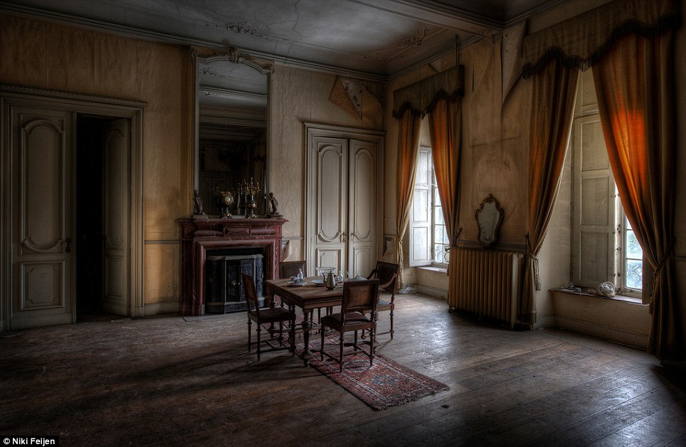 Ready to move in: Aside from the slightly peeling walls, this still-grand room is in almost perfect condition