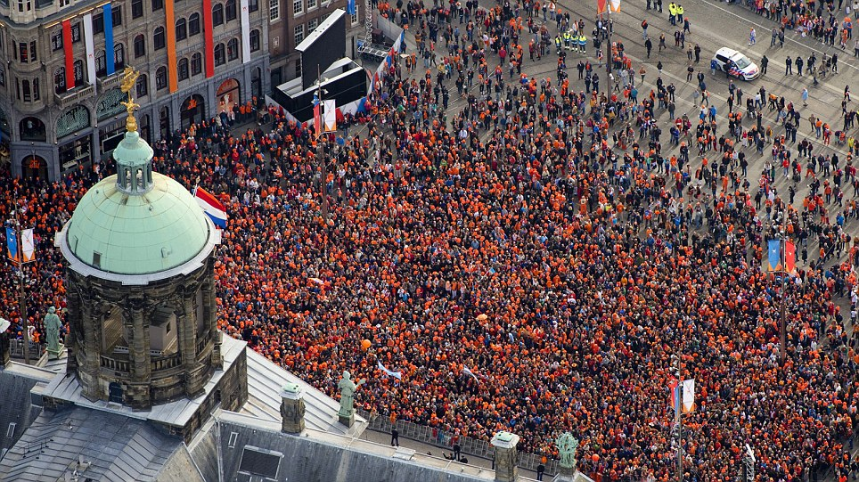 Sea of orange: Beatrix has been a very popular queen and enjoyed huge support from the population of the Netherlands