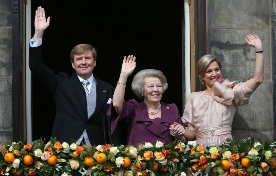 Handover: 'Today, I make way for a new generation,' said Beatrix, 75, who now takes the title of Princess