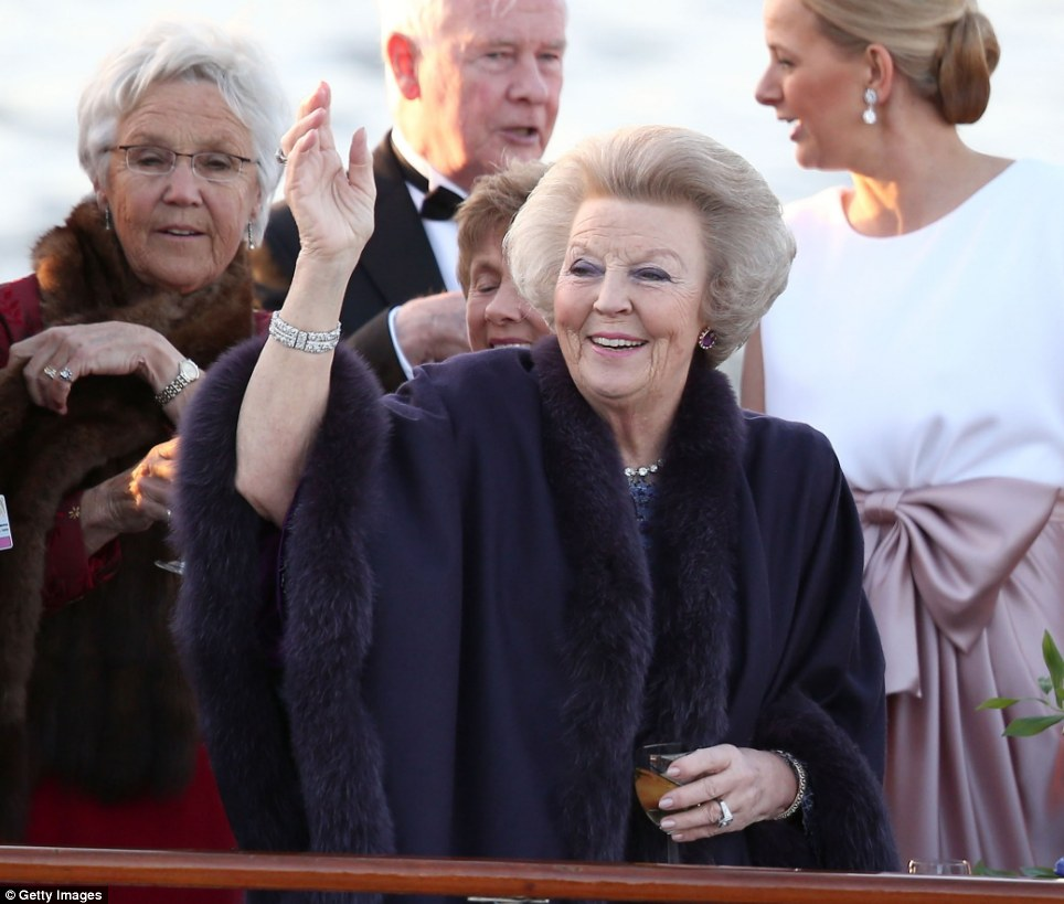 New role: Princess Beatrix, formerly Queen Beatrix, also took part in tonight's water pageant to celebrate the inauguration her son
