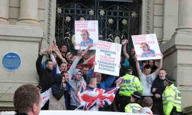 Terror targets: EDL demonstrators were the target of the Muslim extremists at the rally in Dewsbury last June