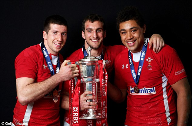 Familiar faces: Warburton (centre) will be joined by 14 of his Welsh teammates