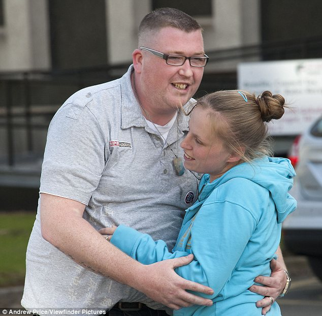 Relief: The children's parents celebrated after the guilty verdict was delivered today