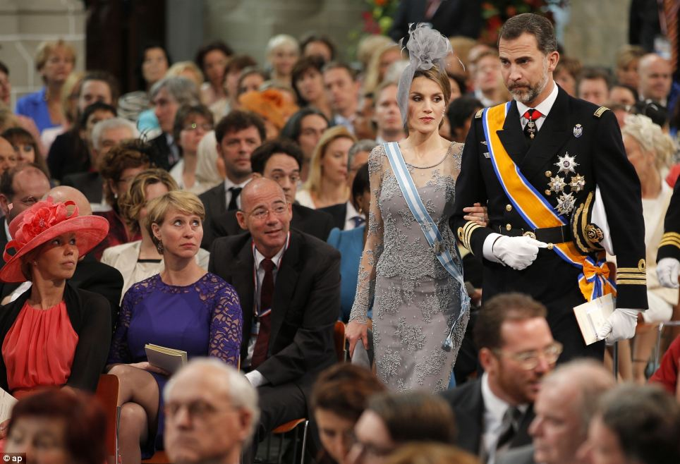Down the aisle: Spain's Crown Prince Felipe and Princess Letizia arrive at the Church in Amsterdam