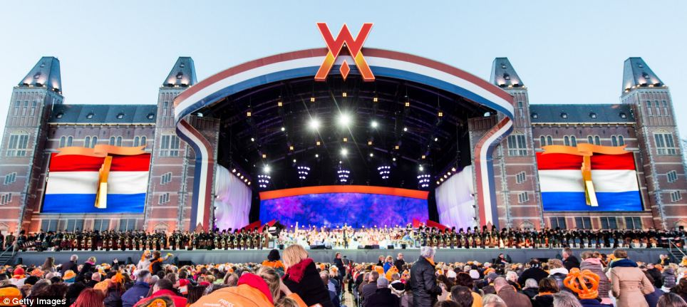 Party time: Andre Rieu performs on stage at Museumplien during the celebrations after the King's swearing in