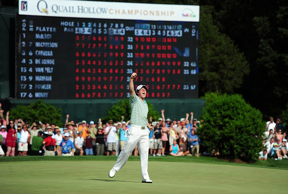 Rory McIlroy celebrates his birdie on the 18th green in the final round of the 2010 Quail Hollow Championship