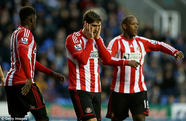 Struggling: Graham (centre) is yet to score since signing for Sunderland in January for £5million