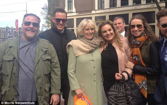 Royal encounter: Morris Nieuwenhuis (second left) meets the Duchess of Cornwall in Amsterdam