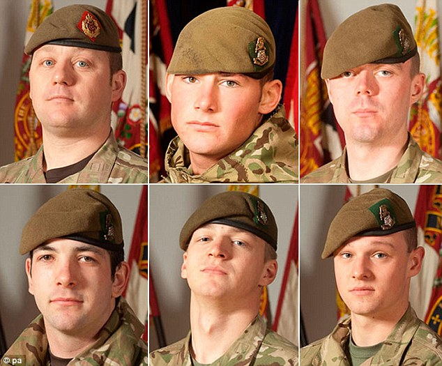 (top row left to right) Sergeant Nigel Coupe, Corporal Jake Hartley, Private Anthony Frampton and (bottom row left to right) Private Christopher Kershaw, Private Daniel Wade and Private Daniel Wilford