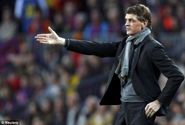 Calling the shots: Barcelona boss Tito Vilanova instructs his players