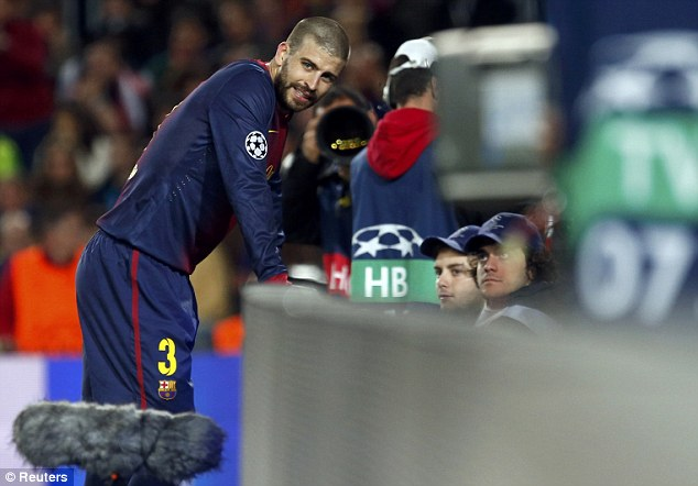 Slice of bad luck: Gerard Pique clumsily turned the ball into his own goal