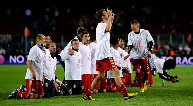 Road to Wembley: Bayern Munich players celebrate booking successive Champions League finals