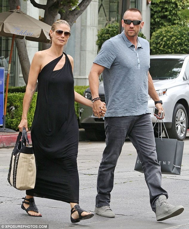 Racy choice: Heidi Klum went braless for a shopping trip in West Hollywood on Tuesday with her boyfriend Martin Kristen